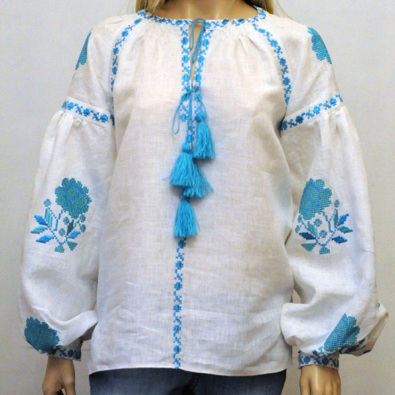 Вишита бохо блузка с аквамариновыми розами - Каталог рукоділля  103279 7f3eba1b39332