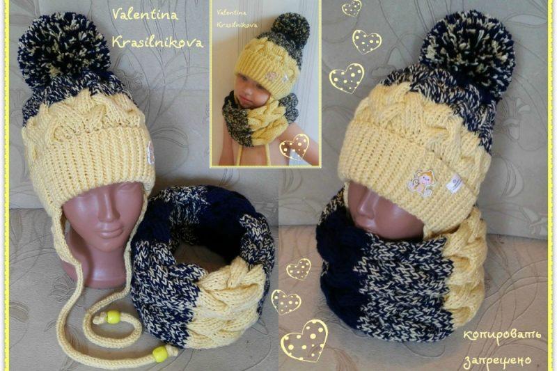Комплект шапка и снуд на девочку с косами 4-8 лет (52-54 см) - Каталог  рукоділля  103951 39afe4d72fba7