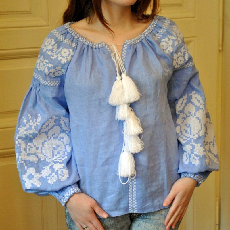Жіноча вишита сорочка на льоні з вишитими квітами - Каталог ... 8f53f2cd75bbb