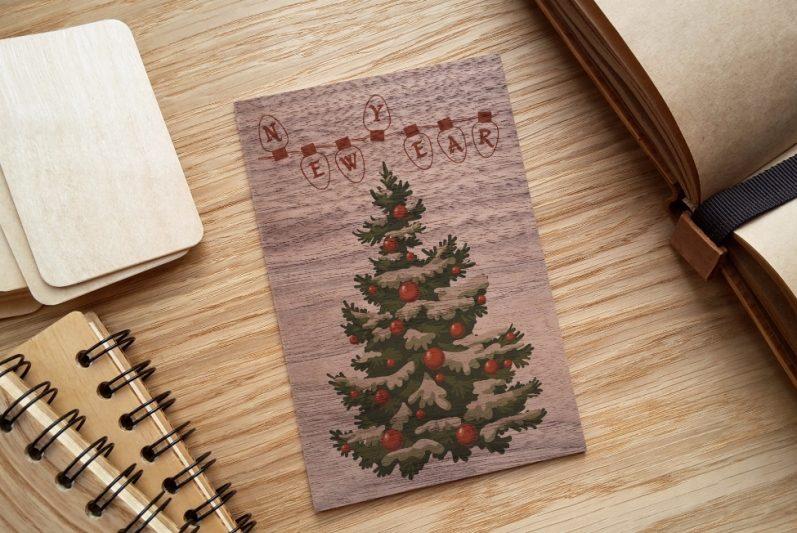 Поздравить, открытки из дерева новый год