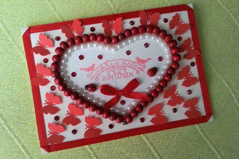 Как сделать открытку в виде сердца своими руками, для