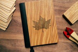 """Деревянный блокнот А5 в твердом переплёте """"Кленовый лист"""" - Описание"""