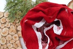 Хомут валяний вовняний шалик із шерсті снуд червоний - Опис