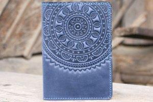 Обложка для паспорта кожаная серо-синяя  - Опис