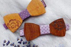 Робота Деревянный галстук бабочка с розами