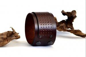 Широкий кожаный браслет Женский кожаный браслет Бордовый - Опис
