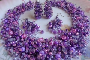 Колье Фиолетово-розовый мех