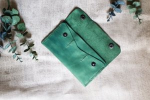 Кожаный кошелек green - Опис