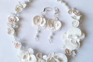 Колье и серьги с белыми орхидеями  - ІНШІ РОБОТИ