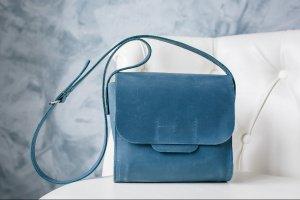 Робота Сумка через плечо, голубая кожаная сумка, сумка летняя