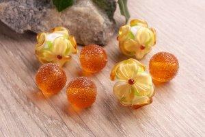 Робота Бусины ′Цветы и сахар топаз′ лэмпворк стекло