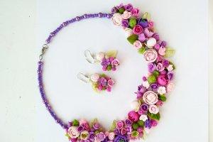 Робота  Колье и серьги с цветами Цветочная фантазия