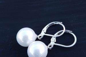 Сережки з перлинами Майорка та срібними застібками