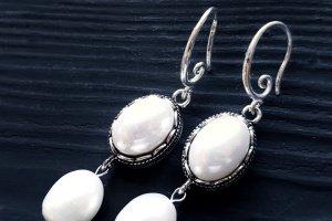 Сережки з натуральними перлами та перлами Майорка