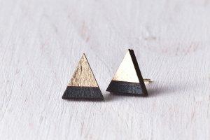 Деревянные серьги гвоздики, черно золотые сережки - ІНШІ РОБОТИ