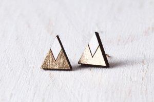 Робота Серьги треугольники золото с белым, сережки гвоздики