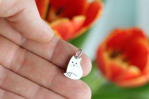 Срібний кулон Кот