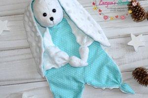 Бирюзовый зайка - комфортер для малышей - Опис