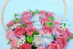 """Кошик з трояндами  """"Весільна композиція"""" - ІНШІ РОБОТИ"""