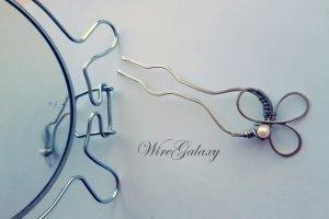 Робота Шпилька для волос из мельхиора с жемчужиной
