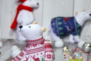 Белый Мишка. НОВОГОДНИЙ ДЕКОР, елочное украшение