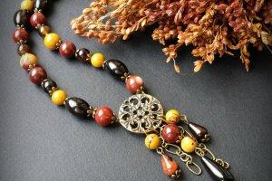 Бордово гірчичне намисто з мукаїту - Опис