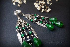 Довгі зелені сережки з підвісками з гематиту та хризопразу - Опис