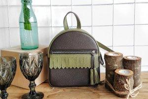 Рюкзак Tassel коричневий + оливка