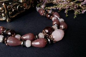 Рожевий браслет з гематитом гранатом та рожевим кварцем - ІНШІ РОБОТИ