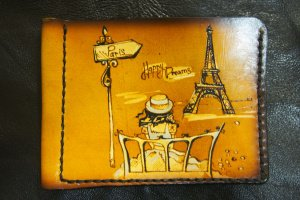 Кожаный зажим для денег Париж мечты - ІНШІ РОБОТИ
