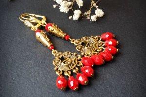 Червоні золоті сережки довгі з підвісками - ІНШІ РОБОТИ