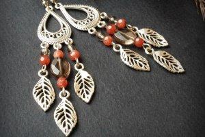 Робота Срібні сережки рожеві сірі з листочками