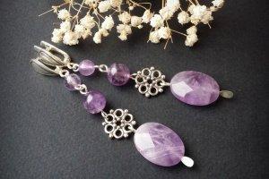Срібні сережки з аметисту з квітами - ІНШІ РОБОТИ