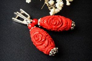 Робота Великі червоні сережки з коралу та срібла