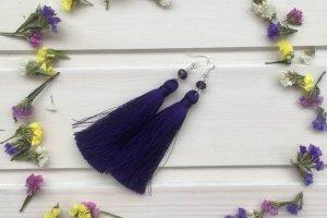 Шёлковые серьги-кисти Тёмно-фиолетовые - ІНШІ РОБОТИ