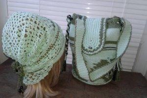 Вязаная летняя сумка   и головной убор повойник Мята - Опис