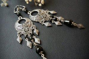 Чорні довгі сріблясті сережки з агату - ІНШІ РОБОТИ