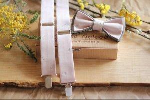 Комплект подтяжки и бабочка пыльный пудровый с серым - ІНШІ РОБОТИ