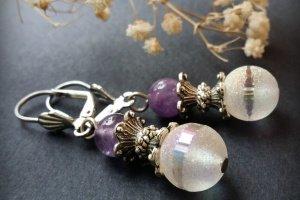 Фіолетові сріблясті сережки з аметистами - ІНШІ РОБОТИ