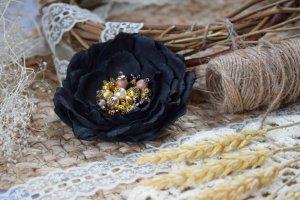 Квітка брошка чорне золото на подарунок заколка у волосся - ІНШІ РОБОТИ