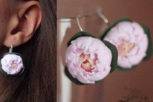 """Робота Серьги цветы """"Розово-персиковые пионы"""""""