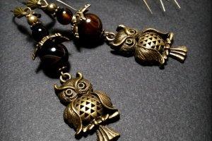 Коричневые серьги совы с агатом - ІНШІ РОБОТИ
