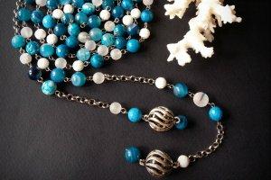 Довге голубе біле намисто ларіат Весняне небо  - ІНШІ РОБОТИ