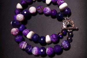 Робота Фіолетовий білий браслет з совою з агату
