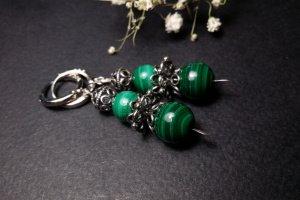 Зелені срібні сережки з малахіту - ІНШІ РОБОТИ