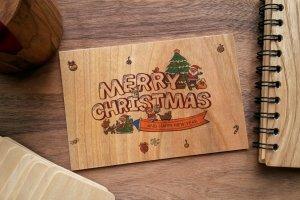 Деревянная открытка - Merry Christmas