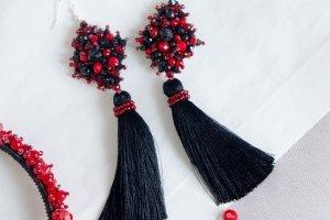 Сережки червоно-чорні кисті