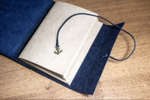 Travellers Notebook - кожаный блокнот. (А6/синий)  - Опис