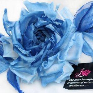 Брошь-заколка роза «Голубой Топаз». Цветы из ткани