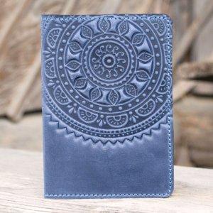 Робота Обложка для паспорта кожаная серо-синяя